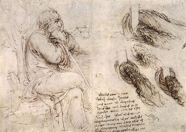 A seated man, and studies and notes on the movement of water, c.1510 - Leonardo da Vinci