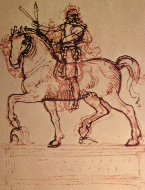Drawing of an equestrian monument, 1500