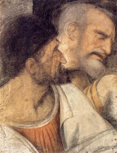 Heads of Judas and Peter - Leonardo da Vinci