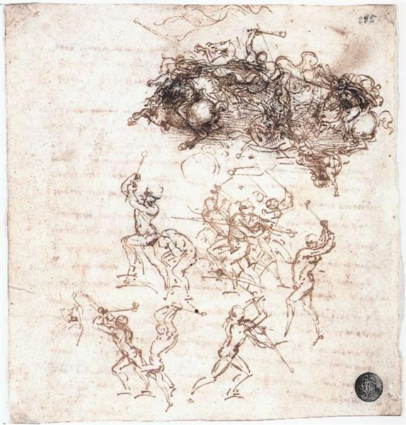 Study of battles on horseback and on foot, c.1504 - Leonardo da Vinci