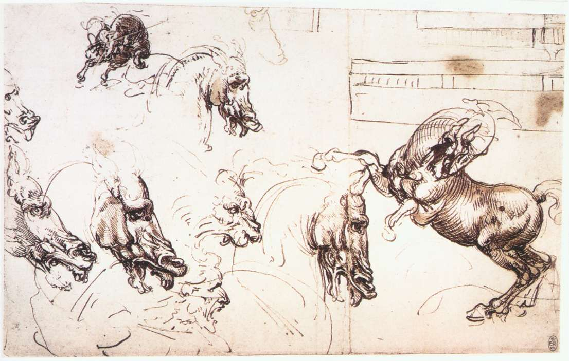 Study of horses for the Battle of Anghiari, c.1503 ...