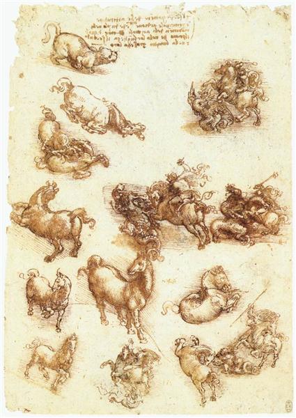 Study sheet with horses, c.1513 - Leonardo da Vinci