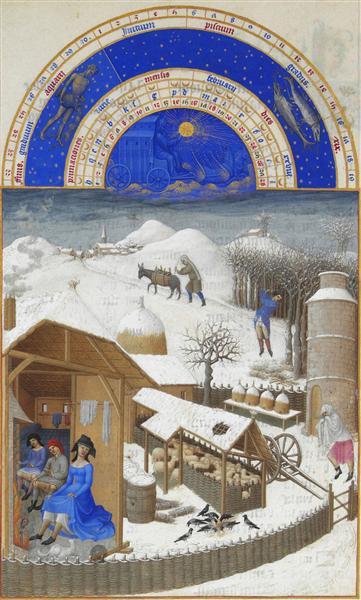 Facsimile of February: Farmyard Scene with Peasants - Limbourg brothers