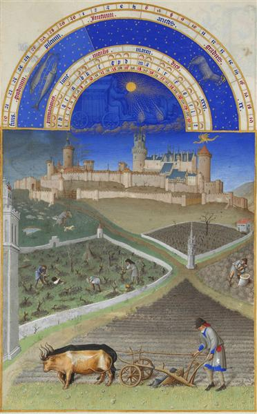 March: Peasants at Work on a Feudal Estate - Limbourg brothers