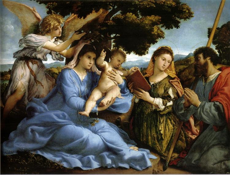 Madonna and St. Catherine of Alexandria, St. James the Greater and an angel, c.1529 - Лоренцо Лотто