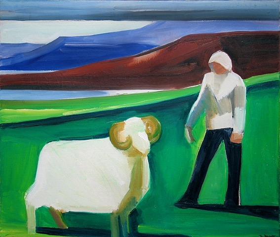 Girl with Sheep - Louisa Matthiasdottir