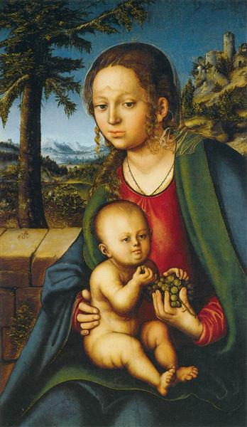 Virgin and Child with a Bunch of Grapes, 1509 - 1510 - Lucas Cranach der Ältere