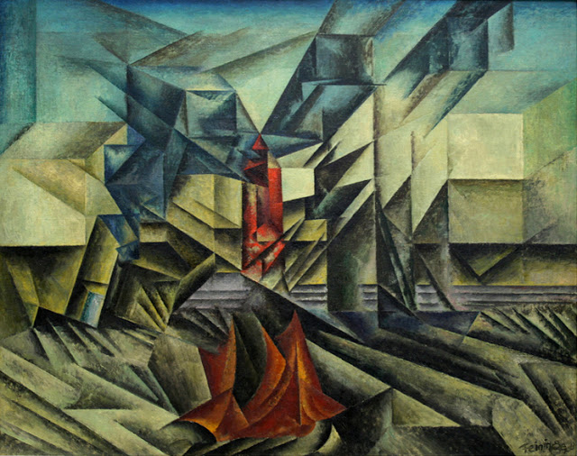 Lyonel Feininger Harbor-mole-1913