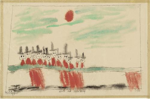 People on the Jetty (Leute auf See-Steg), 1918 - Lyonel Feininger