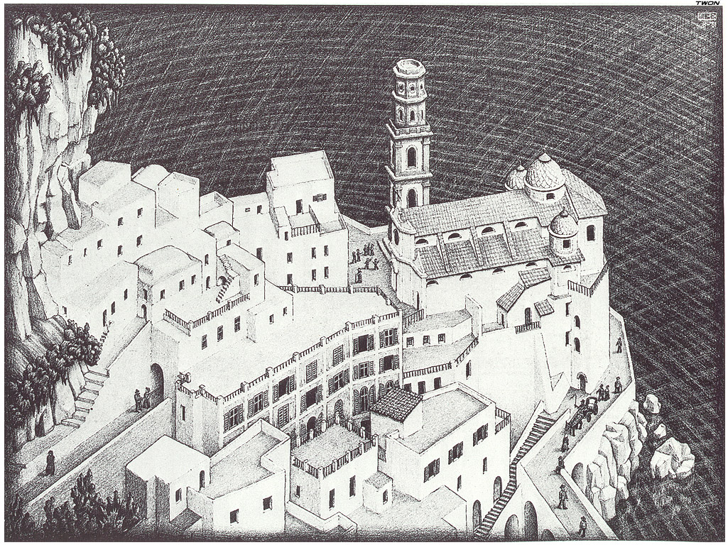 Atrani coast of amalfi 1931 m c escher for Escher metamorfosi