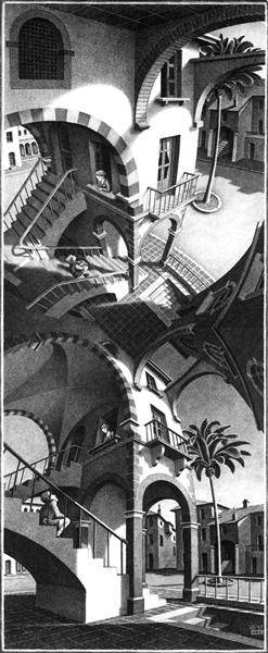 High and Low, 1947 - M.C. Escher