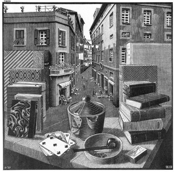 Still Life and Street, 1937 - M.C. Escher