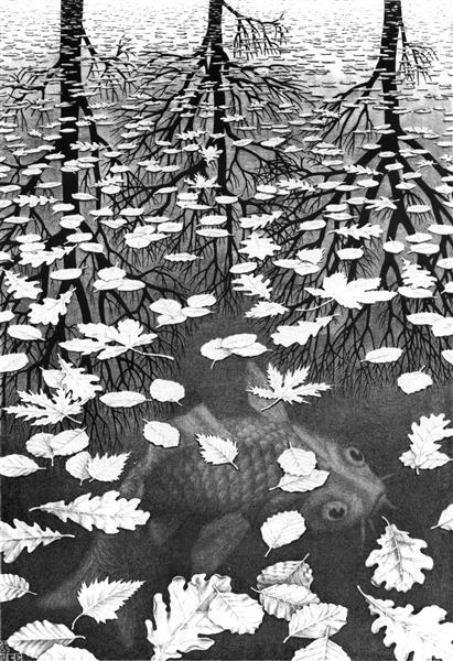 Three Worlds, 1955 - M.C. Escher