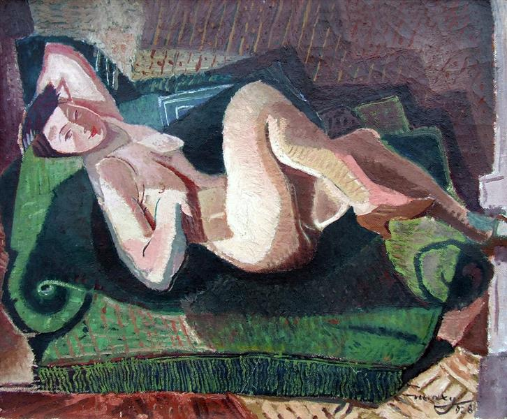 Nude on green sofa, 1928 - М. Х. Максі