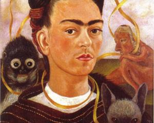 Self Portrait with Small Monkey - Frida Kahlo