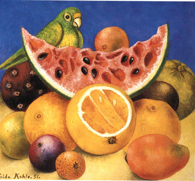 Still life with parrotFrida Kahlo Famous Paintings Still Life