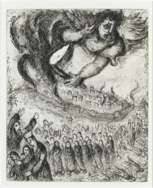Jerusalem was taken by Nebuchadnezzar as the prophecy of Jeremiah (Jeremiah, XXI, 4 7), c.1956 - Marc Chagall