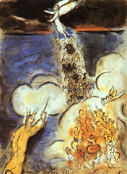 Moses calls the waters down upon the Egyptian army, 1966 - Marc Chagall