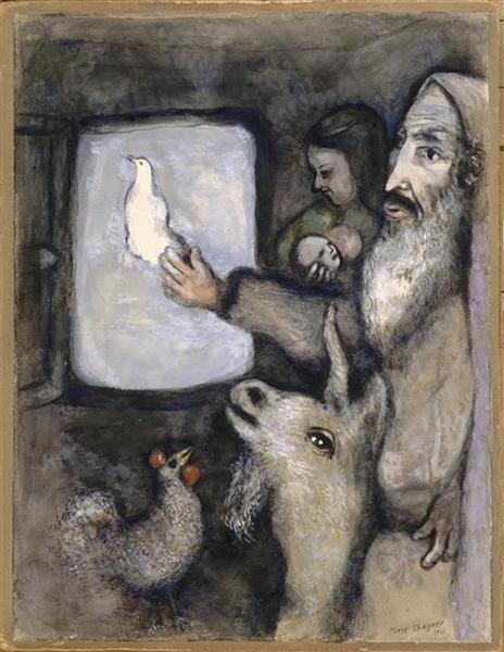 Noah lets go the dove through the window of the Ark (Genesis VIII, 6 9), 1931 - Marc Chagall