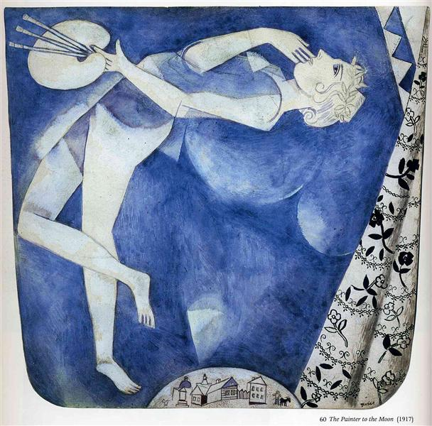 The painter to the moon, 1917 - Marc Chagall