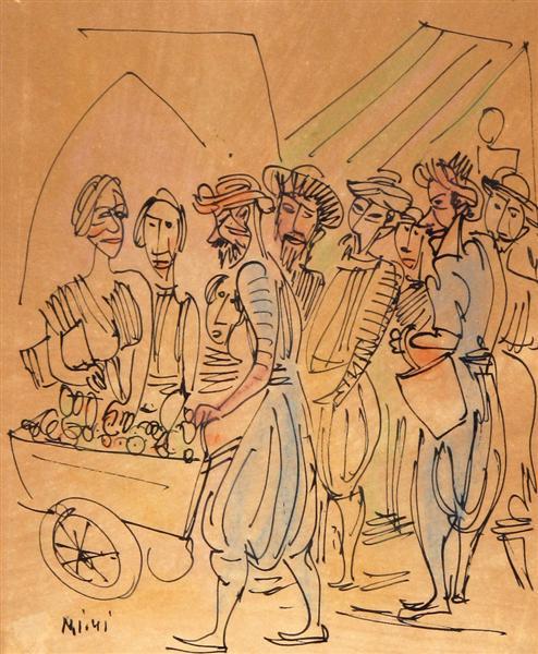 Figures in the Shuk - Marcel Janco