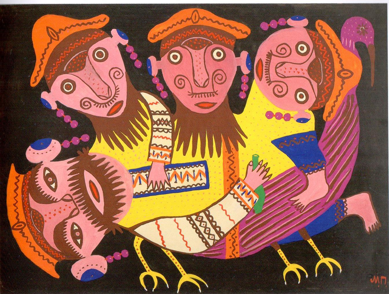 Four Drunkards Riding a Bird, Maria Prymachenko, 1976, ideas for Marimekko, naive, folk art
