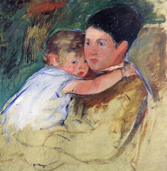 Sketch of Anne and Her Nurse, c.1897 - Mary Cassatt
