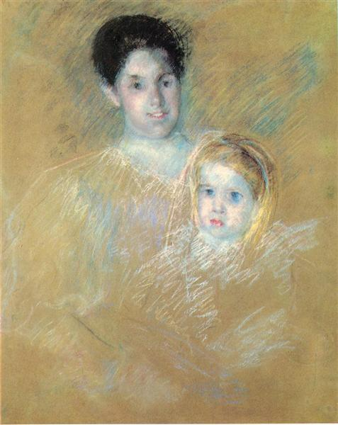 Smiling Mother with Sober Faced Child, c.1894 - Мері Кассат