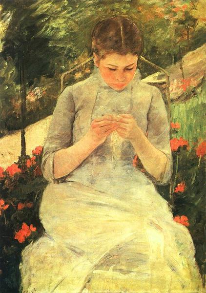 Young Woman Sewing in the garden, c.1880 - 1882 - Mary Cassatt