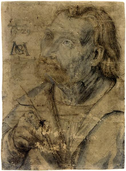 John the Apostle (Half Length Portrait of a Man with a Pinfeather Looking Up), c.1512 - c.1516 - Matthias Grünewald
