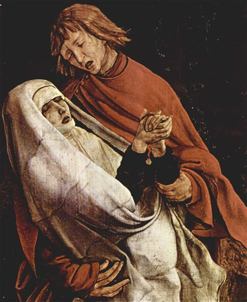 Virgin and Mary Magdalen at the foot of the Cross (detail from the Isenheim Altarpiece), c.1510 - c.1515 - Matthias Grünewald