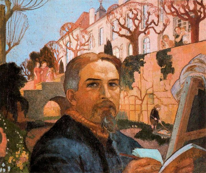 Self-Portrait with his Family in Front of Their House, 1916 - Maurice Denis