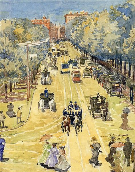 Charles Street, Boston, c.1895 - Морис Прендергаст