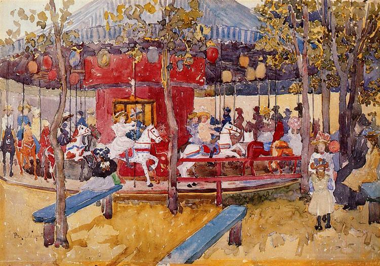 Merry Go Round, Nahant, c.1900 - c.1901 - Морис Прендергаст