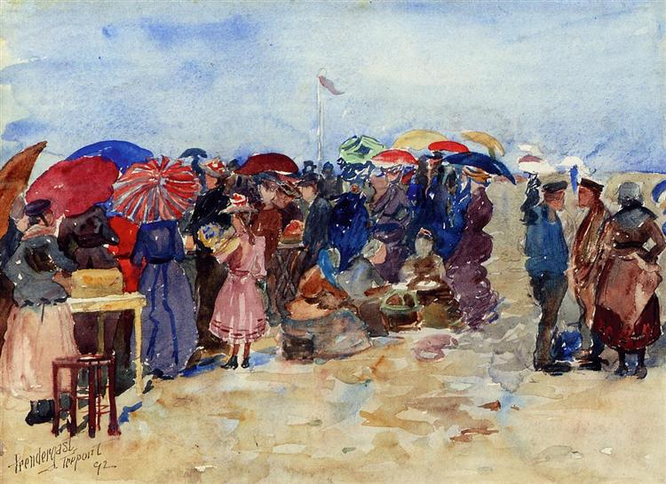 Treport Beach (también conocido como un día muy soleado, treport) - Maurice Prendergast