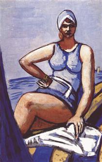 Quappi in blue in a boat - Max Beckmann