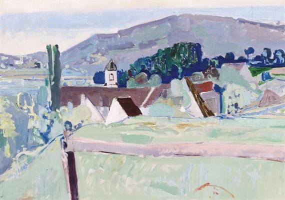 Landschaft mit Kloster Fahr, Unterengstringen, 1938 - Max Gubler