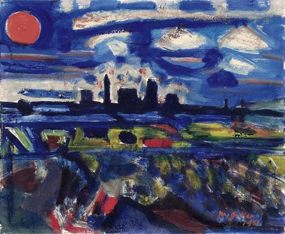 Night landscape with the Gas Plant Schlieren, 1951 - Max Gubler