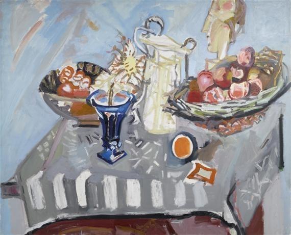 Still life with thistle in blue vase, salt pot, basket of apples and mask, 1956 - Max Gubler