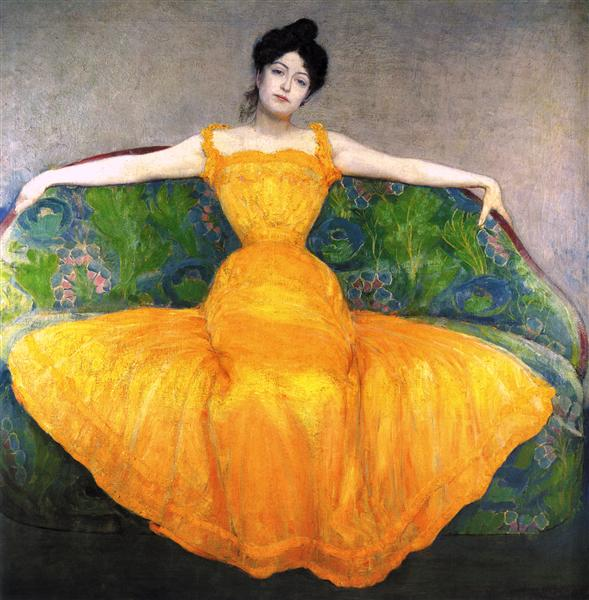 Lady in Yellow Dress, 1899 - Max Kurzweil