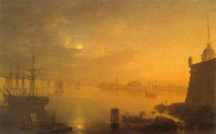 Moonlit Night in St. Petersburg, 1839 - Maxim Vorobiev