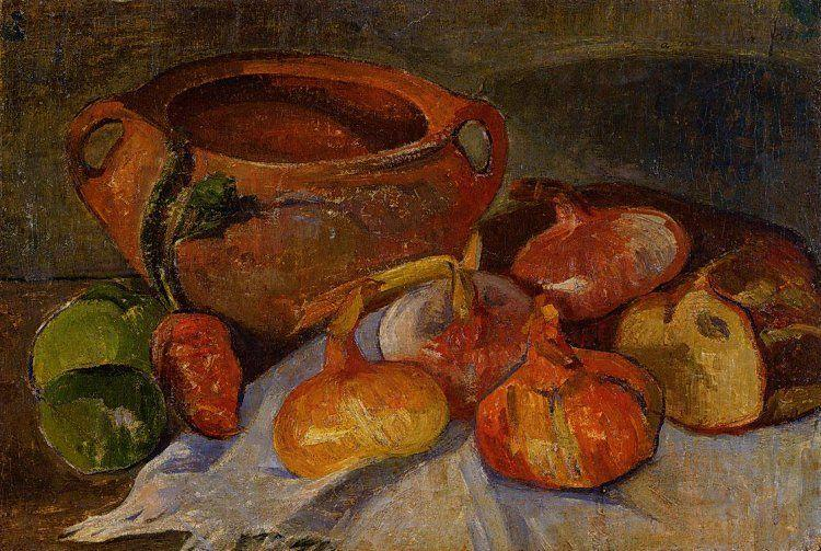Still Life: Pit, Onions, Bread and Green Apples - Meijer de Haan