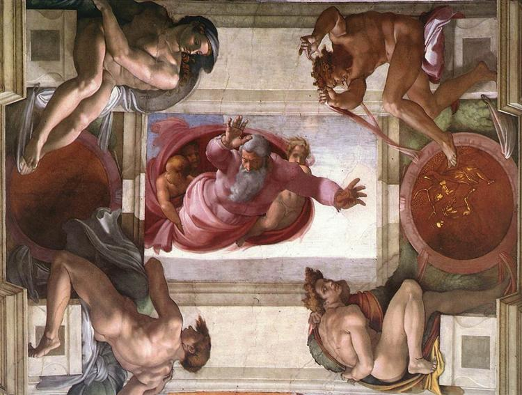 Sistine Chapel Ceiling: God Dividing Land and Water, 1508 - 1512 - Микеланджело