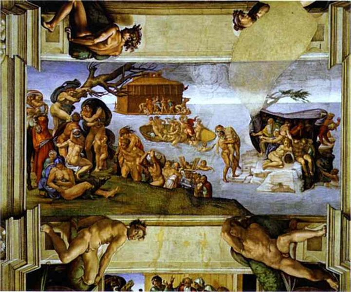 Sistine Chapel Ceiling: The Flood - Michelangelo