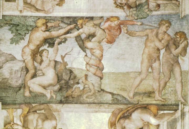 Sistine Chapel Ceiling: The Temptation and Expulsion, 1508 - 1512 - Michelangelo