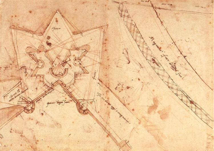 Sketch of fortifications of Porta del Prato in Florence  (ground floor plan), c.1525 - Michelangelo