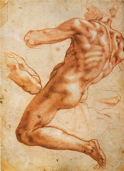 Study for an ignudo, c.1508 - Michelangelo