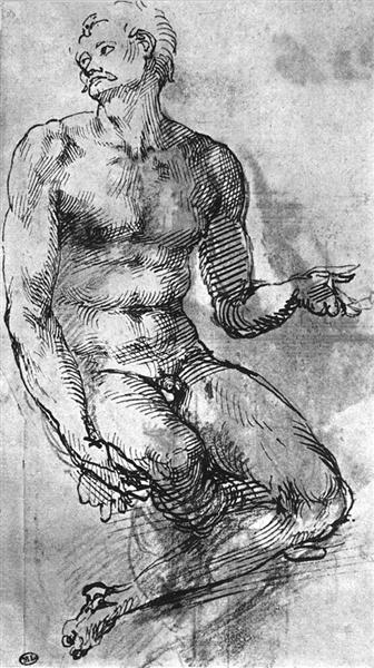 Study of nude man, 1520 - 1521 - Michelangelo