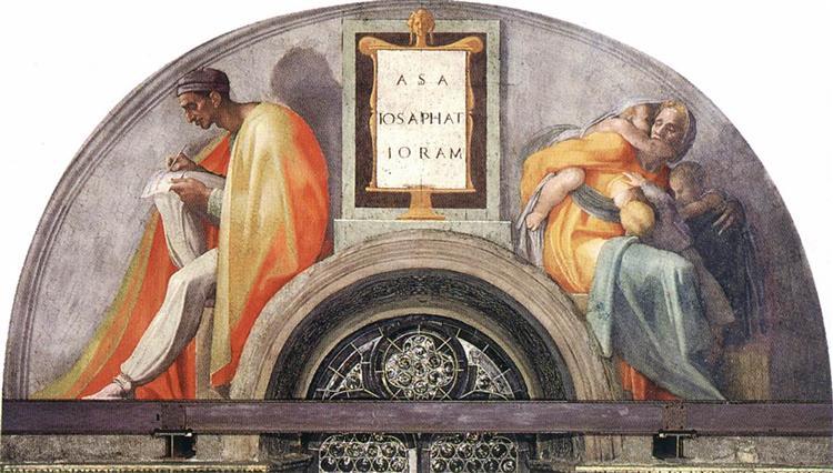 The Ancestors of Christ: Jehoshaphat, Joram, 1512 - Michelangelo