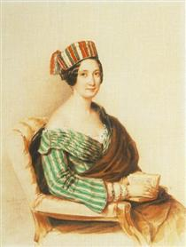 Woman in Striped Dress - Miklós Barabás